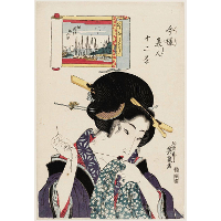 (Otonashisô, Tsukuda Shinchi no irifune), from the series Twelve Views of Modern Beauties (Imayô bijin jûni kei)
