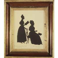Cut Silhouette of Two Women Facing Right