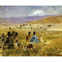 Persians Lunching on the Grass, Mt. Ararat in the Distance