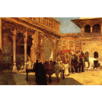 Elephants and Figures in a Courtyard, Fort Agra