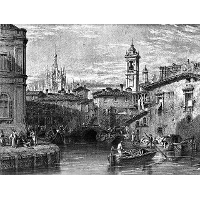 Boat scene at Milan, drawing by Leitch, engraving by T. Higham