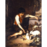 Childs with rabbits