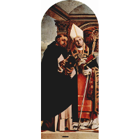 Altar of Recanati polyptych, the left wing: St. Thomas Aquinas and St. Flavian