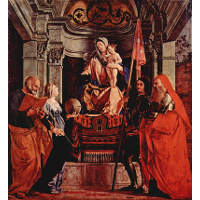 Altar of Santa Cristina al Tiverone, main board: Madonna Enthroned, St. Peter and St. Christina of Bolsena, St. Liberalis and St. Jerome