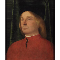Portrait of a young man in red garment