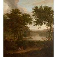 A River Landscape Flanked by Trees