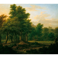 Wooded Landscape with Gypsies, Evening