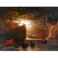 Fishing Near The Fjord By Moonlight
