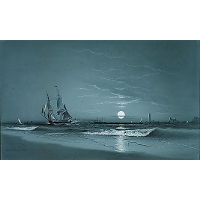 Entrance to harbor, Moonlight