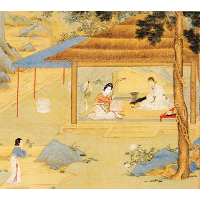 Konghou Player in a Pavillion