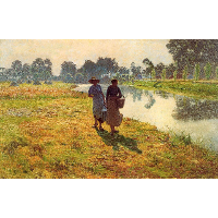 Young peasant women at the leie