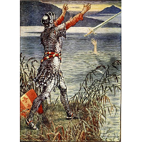 King Arthur Sir Bedivere throwing Excalibur into the lake