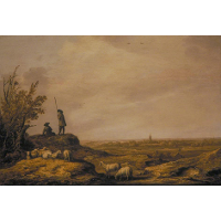 Panoramic Landscape with Shepherds, Sheep and a Town in the Distance