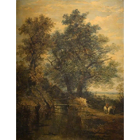 A Stream, Bridge, Trees and Two Figures in a Landscape