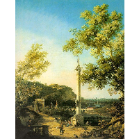 River Landscape with a Column