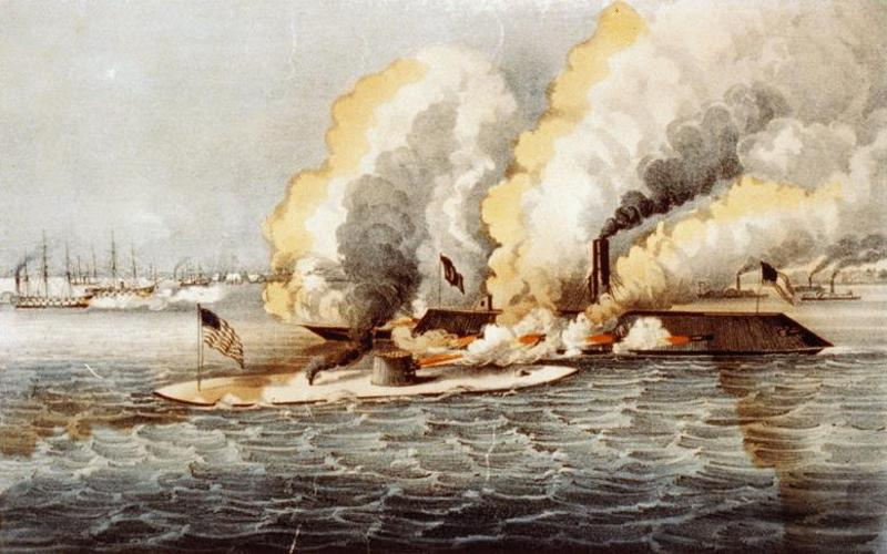 the account of events during the battle between uss monitor and the css merrimack in 1862