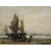 A Grey Day with Dutch Fishing Boats