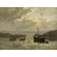 Harbour Scene with Fishing Boats