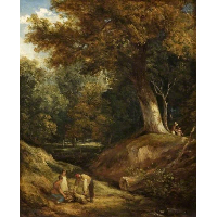 A Woodland Glade with Figures