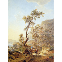 Italian landscape with herdsmen couple