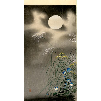 Moon and Blue Flowers