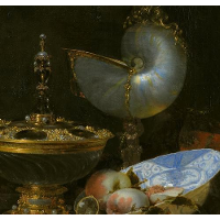 Still Life with Holbein Bowl, Nautilus Cup, Glass Goblet and Fruit Dish (detail)
