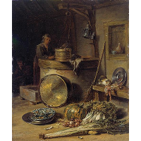 Peasant Interior with Woman at a Well