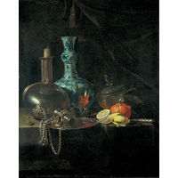 Still Life with a Pilgrim Flask, Candlestick, Porcelain Vase and Fruit