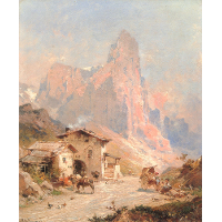 Figures in a Village in the Dolomites