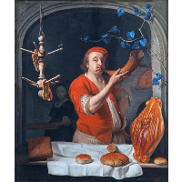A Baker Blowing his Horn