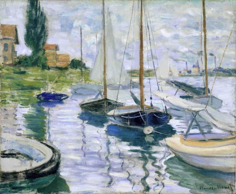 картина лодка и горы