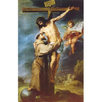 Saint Francis of Assisi embracing the crucified Christ