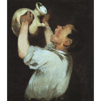 A boy with a pitcher