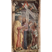 Altarpiece of San Zeno in Verona, left panel of St. Peter and St. Paul, St.John the Evangelist, St. Zeno