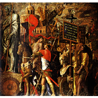 Captured statues and siege equipment, a representation of a captured City and inscriptions (Triumph of Caesar)