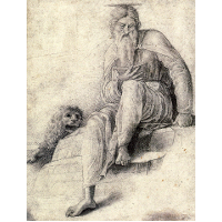 Saint Jerome reading with the Lion