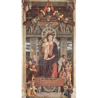 Altarpiece of San Zeno in Verona, central panel Madonna and Angels
