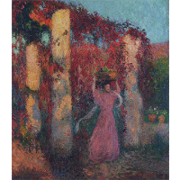 Young Woman in Vigne Vierge Rouge