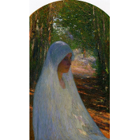 Young Woman Veiled in White in a Forest