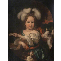 Portrait of a Young Girl with a Feather Headdress and a Kid