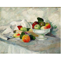 Apples and pears on white