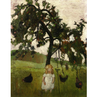 Elizabeth with Hens under an Apple Tree