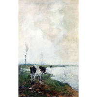 A Cow Standing By The Waterside In A Polder