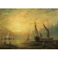 A Seascape with Yachts at Sunset