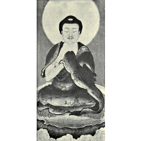Black and white reproduction of a portrait of Sakyamuni