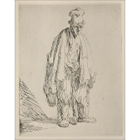 A Beggar Standing and Leaning on a Stick