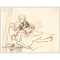 A Woman Sitting up in Bed