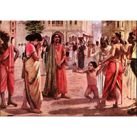 Harischandra in Distress, having lost his kingdom and all the wealth parting with his only son in an auction