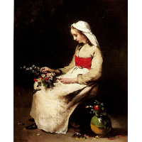 A Girl Arranging a Vase of Flowers