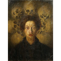 Self-portrait with skulls
